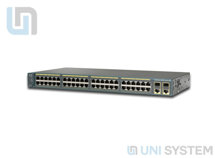 WS-C2960+48TC-L Cisco Catalyst 2960 48 port 10/100Mbps + 2 port T/SFP LAN Base